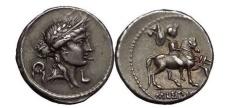 Ancient Coins - Aemilius LEPIDUS, Rome, 61 BC. Silver Denarius. Horseman w trophy.