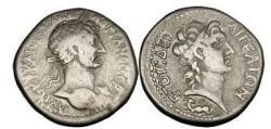 Ancient Coins - Cilicia, AIGEAI, 117 A.D. , Silver Tridrachm: Bust of Hadrian / Alexander the Great