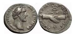 Ancient Coins - ANTONINUS PIUS, Rome, 145 AD. Silver Denarius. Clasped Hands, caduceus.