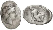 Ancient Coins - THESSALY: KIERION, 350 BC. Silver Trihemiobol. Nymph Arne. Rare.