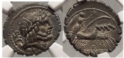 Ancient Coins - ROMAN REPUBLIC 83BC Balbus NGC Certified AU Silver Denarius Ancient Coin SUPERB