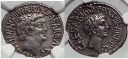 Ancient Coins - MARK ANTONY & Augustus as TRIUMVIRS 41 BC  RARE NGC AU*