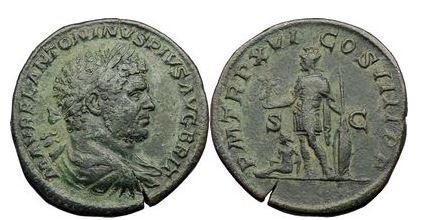 Ancient Coins - CARACALLA, Rome, 212AD. Bronze Sestertius. Mars to the left, holding Victory. Very Rare and Superb!