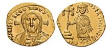 Ancient Coins - Justinian II FIRST ANCIENT Gold  with JESUS CHRIST Byzantine Empire NGC MS
