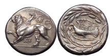 Ancient Coins - Peloponnese, Sicyon 330 B.C. Silver Stater. Chimaera. Dove. NGC Certified: Choice AU*. 5/5. 5/5.FINE STYLE.