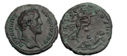 Ancient Coins - ANTONINUS PIUS, Rome, 140 AD. Mars descending to Rhea Silvia. Bronze As.