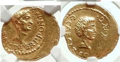 Ancient Coins - JULIUS CAESAR and OCTAVIAN 43 BC  Gold Aureus SUPERB & PEDIGREED