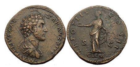 Ancient Coins - MARCUS AURELIS, Brass Sestertius, c.18 Cent Clementina. NGC. XF. 5/5. 3/5. FINE STYLE.