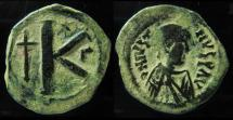 Ancient Coins - Justin I, 518-527 AD. Constantinople mint. AE Half-follis.