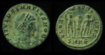 DELMATIUS, 335-337 AD. GLORIA EXERCITUS. SMKE.  Mint of Cyzicus