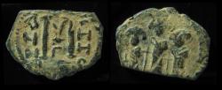 Ancient Coins - Arab-byzantine (Pseudo-Byzantine),Pre-reform coin of Bilad al-sham, 23mm Circa 630s-640s. Æ Fals
