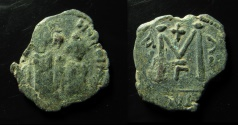 World Coins - Umayyad Caliphate.  Arab-Byzantine type, imitating Justin II. Uncertain mint in Southern Syria. AE 25 mm