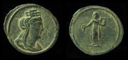 Ancient Coins - UNDER MAXIMINUS II, 312 AD. AE17. 1//4 FOLLIS. TYCHE / APOLLO. EX-RARE