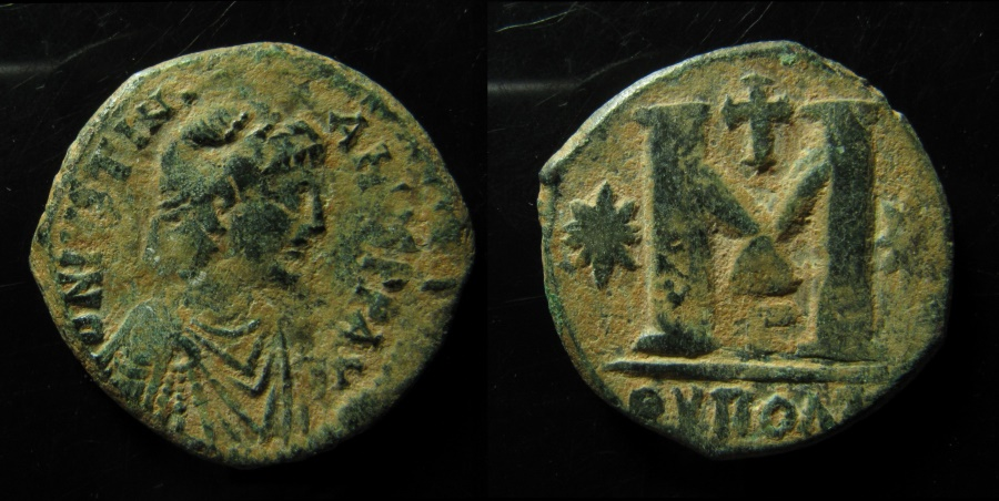Ancient Coins - Justinian I, AE Follis. Theoupolis (Antioch) mint.