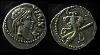 Kings of Numidia, Juba II Silver  Denarius. aEF!