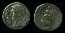Ancient Coins - Augustus Silver Denarius. Spanish (Colonia Patricia?) mint. ca 19 BC, Rare! (3.4g)