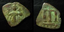 Ancient Coins - ARAB-BYZANTINE, AE FALS, 21MM ,PRE-REFORM COINAGE,  LINES INSTEAD OF MINTMARK!!!