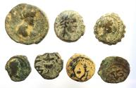 Ancient Coins - Lot of 7 bronze coins from Holy land. Provincial, Greek and Judaean.