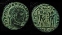 Ancient Coins - MAXENTIUS, 306 - 312 ad. Ostia Mint, Bronze Follis AE25