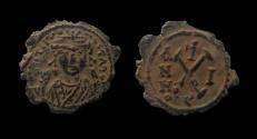 Ancient Coins - Maurice Tiberius, 582-602 AD. Antioch mint. AE 20 mm, Decanummium.