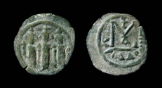 Ancient Coins - Arab-Byzantine, imitating Heraclius. AE Fals. Tabariyyah (Tiberias) mint.