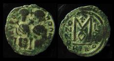 Ancient Coins - ARAB-BYZANTINE, AE FALS. Nysa-Scythopolis. Imitation of Justin II. Scarce