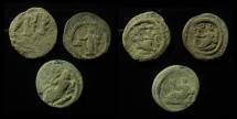Ancient Coins - EGYPT. 2nd-3rd centuries AD. Lot of 3 lead Tesseras , Rare!