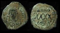 Ancient Coins - PHOCAS, 602 - 610 ad. AE32. Large Follis. Impressive Over-Struck on Early Follis Of Maurice Tiberius- CON on both sides !