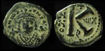 Ancient Coins - Maurice Tiberius, 582-602 AD, AE Half Follis. Antioch as Theopolis.