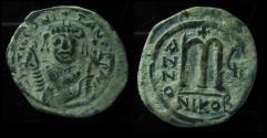 Ancient Coins - TIBERIUS II CONSTANTINE, 578 - 582 ad. Bronze Follis, 31mm. Nicomedia. Year 6. EF