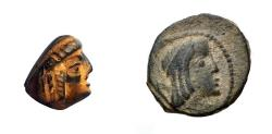 Ancient Coins - Unique Bronze Seal in the shape of a head of an early Nabataean ruler.
