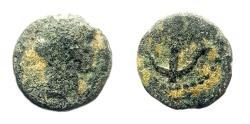 Ancient Coins - Judaea, Herodians. Caesarea Maritima . Agrippa II, with Vespasian. AE 11 mm.
