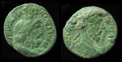 Ancient Coins - SAMARIA, Caesarea Maritima. Marcus Aurelius, 161-180 AD. Serapis with Modius. Green Patina