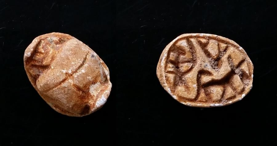 Ancient Coins - Ancient Egyptian Fiance Scarab. Hyksos Period. Hunting Scene. 12 mm.