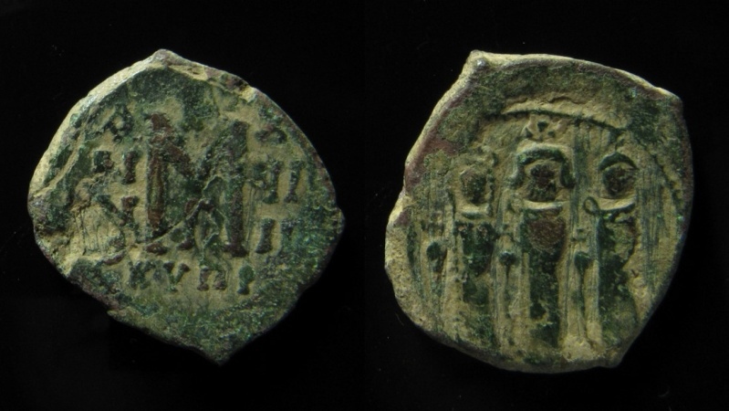 Ancient Coins - Heraclius, Heraclius Constantine and Martina, AE Follis, Cyprus mint.