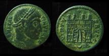 Ancient Coins - CONSTANTINE I AE Follis. Arles Mint, 18mm. Campgate with 4 Turrets.