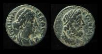 Ancient Coins - DECAPOLIS, Faustina Junior, w. Marcus Aurelius, + 176 AD. Head of Zeus. Scarce