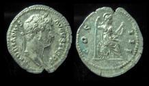 Ancient Coins - HADRIAN, 117 - 138 AD. Silver Denarius. COS III. Roma Seated