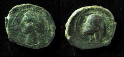 Ancient Coins - SPAIN, CARTHAGINIAN OCCUPATION. Ca. 237-209 bc. Tanit / Helmet