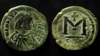 ANASTASIUS, 491-518 AD. AE25 FOLLIS CONSTANTINOPLE MINT,WITH COUNTERMARK, RARE!