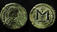 Ancient Coins - ANASTASIUS, 491-518 AD. AE25 FOLLIS CONSTANTINOPLE MINT,WITH COUNTERMARK, RARE!