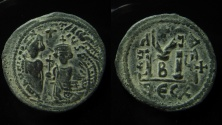 Ancient Coins - Heraclius and Heraclius Constantine. AE 29 mm Follis, Thessalonica. Overstrucked on Maurice Tiberius, Antioch mint coin.