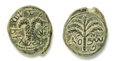 Ancient Coins - Judaea, Bar Kochba Revolt (132-135). AE 22mm. Undated issue, attributed to year 3 (134/5). Full legend. Sharp details.