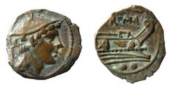 Ancient Coins - Anonymous. 206-195 BC. AE Sextans.