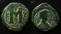 Ancient Coins - Justin I (AD 518-527). AE 32 mm, Follis. Cyzicus mint. Rare!