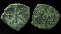 Heraclius and Heraclius Constantine. AE Half Follis, Constantinople.  Countermark Heraclius Monogram!