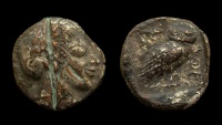 Attica, Athens Fouree Tetradrachm. 23mm. Circa 500-480 BC.  ARCHAIC STYLE PORTRAIT!!
