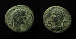 Ancient Coins - SYRIA, Seleucis and Pieria. Antioch. Antoninus Pius, with Marcus Aurelius as Caesar. Æ 24mm, Extremely Rare Dynastic Issue!