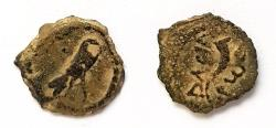 Ancient Coins - Herod I (The Great). 40 BC. - 4 BC. AE Lepton. Superb condition for this type. Full legend!