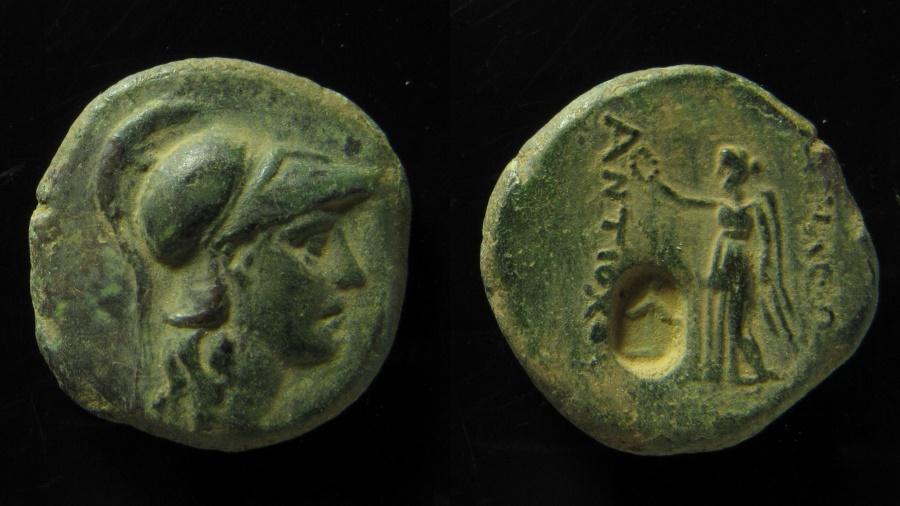 Ancient Coins - Seleukid Kingdom, Antiochos I AE 19 mm. Anchor countermark. Ex Rare!